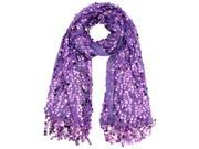 Purple Sequin Shawl Wrap With Fringe