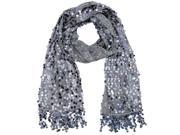 Silver Sequin Shawl Wrap With Fringe