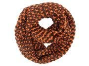 Orange Two-Tone Chunky Knit Circle Scarf