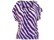 Purple & White Diagonal Striped Smock Waist Peek-A-Boo Shoulder Top