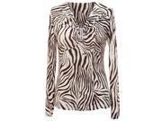 Brown & Cream Zebra Print Rhinestone Gathered Long Sleeve Top