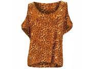 Brown Animal Print Peek-A-Boo Shoulders Hi Lo Plus Size Top