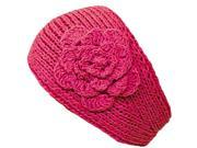 Hot Pink Knit Hand Made Headband With Flower Detail