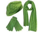 Lime Green Cable Knit Beret Hat Scarf Glove Set