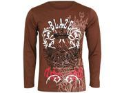 Brown Men's Long Sleeve Tee Shirt With Graphic Print