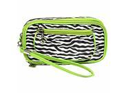 Lime Green Zebra Print Wristlet Makeup Case