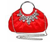 Red Satin Jeweled Evening Bag