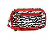 Red Zebra Print Wristlet Makeup Case