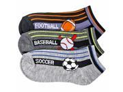 Boys Sports Ball Game Print 3 Pack Ankle Socks