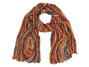 Orange Multicolor Swirl Print Light Scarf