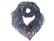 Navy Pink White Striped Winter Infinity Scarf With Fringe 9SIA1NM21S9640