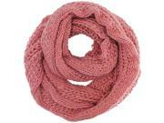 Soft Pink Simple Thick Knit Winter Circle Infinity Scarf