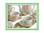 28 * 29cm DIY Handmade Counted Cross Stitch Set Embroidery Needlework Kits Rose Cup Set Pattern Cross Stitching Home Decoration 14CT 9SIA1NV3C37271