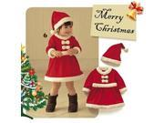 Cute High Quality Soft Red and White Little Girl Christmas Hat and Dress
