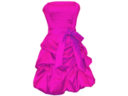Strapless Taffeta Bubble Dress with Pull-Ups Formal Gown Prom Dress Bridesmaid Junior Plus Size