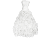 Strapless Beaded Bandage Mesh Florettes Prom Dress