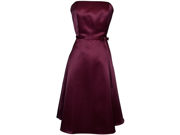50's Strapless Satin Formal Bridesmaid Prom Dress Holiday Gown