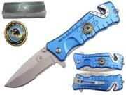 "Falcon 3 1/4"" Blade Folding knife. Blue handle with eagle logo"