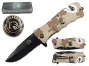 "Falcon 3 1/4"" Blade Folding knife. Camo handle with falcon logo"