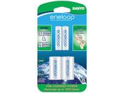 """Eneloop SEC-NCSD2AAN 2-pack 2000mAh AA Ni-MH Batteries with """"D"""" Spacer"""