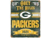 Party Animal Packers Vintage Metal Sign 1 Each Obey The Rules Print Message 11.5 Width x 14.5 Height Rectangular Shape Heavy Duty Embossed Letterin