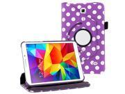 "KIQ (TM) Purple Polka Dots Design 360 Degree Rotating Leather Case for Samsung Galaxy Tab 4 7"" T230"