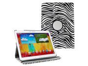 KIQ (TM) Zebra 360 Rotating Leather Case Cover Skin for Samsung Galaxy Note 10.1 2014 P601