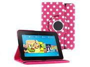 KIQ (TM) Polka Dots Hot Pink 360 Rotating Leather Case Pouch Cover Skin Stand for Kindle Fire HD 7""