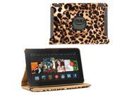 """KIQ (TM) Leopard 360 Rotating Leather Case Pouch Cover Skin Stand for Kindle Fire HDX 7"""""""