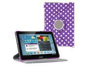 "KIQ (TM) Polka Dots Purple 360 Rotating Leather Case Cover Skin for Samsung Galaxy Tab 2 10.1"" P5100"