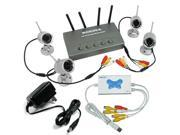 Weather-proof 2.4G 4-Channel Wireless Surveillance and Security System with 4 Indoor/Outdoor Night Vision Surveillance Cameras + 4 channel USB DVR with audio