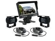 """CAR REAR VIEW KIT 7"""" LCD 4pin MONITOR + 2 CCD IR REVERSING CAMERAS BACKUP SYSTEM"""