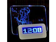 LED Fluorescent Message Notice Board Digital Alarm Clock Night Light