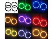 4 x 70MM LED Multi-color RGB 5050 Flashing Angel Eyes Halo Ring Bulbs Remote kit