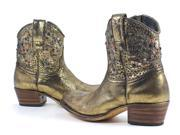 Frye Deborah Studded Gold Leather Short Womens Fashion Boots Shoes 6 New