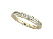 14K Yellow Gold 0.24cttw Round Shaped White Brilliant Diamond & Baguette Shaped White Brilliant Diamond Ring