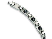 Stainless Steel Black Plated Magnetic Accents Bracelet. 8.5in long.