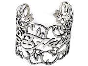 Ed Hardy Logo Women's Wrist Cuff Bracelet In White Alloy