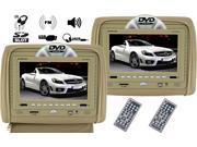 "Evervox EV-910HD Beige 9"" Dual Headrest Monitor/DVD"