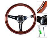 Classic Wood Grain Sport 350mm Steering Wheel W/ Black Trim Chrome Polish Spokes