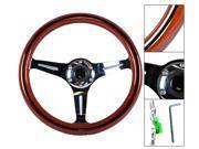 Classic Wood Grain Sport 350mm Steering Wheel W/ Black Trim Chrome Polish Spokes
