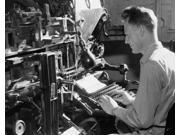 Side profile of a male worker operating a linotype machine Poster Print (18 x 24)