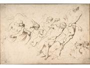Fantastic Subject: Five Nude Male Figures Punishing Another Poster Print by Giovanni Benedetto Castiglione (Il 9SIA1S726W9675