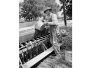 Mature man loading grinds into sowing machine Poster Print (24 x 36)