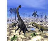 Allosaurus dinosaurs attacking a Brachiosaurus in the desert Poster Print (28 x 28) 9SIA1S74CN1267