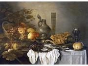 A Still Life With a Roemer Oysters a Roll and Meat Poster Print by  Pieter Claesz  (10 x 14) 9SIA1S74679866