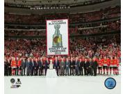 The Chicago Blackhawks raise their 2015 Stanley Cup championship banner at the United Center October 72015 Photo Print (8 x 10) 9SIA1S75155382