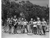 1950s Lineup Of 9 Boys In Tee Shirts With Bats & Mitts Facing Camera Poster Print By Vintage Collection (11 X 14)