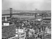 1950s Philadelphia Pa Usa Looking Northeast Past Delaware River Waterfront To Benjamin Franklin Suspension Bridge To 9SIA1S75NF0748