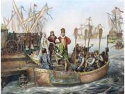 Christopher Columbus N(1451-1506) Italian Navigator Columbus Departing From Palos Spain On 3 August 1492 Engraving After Victor A Searles 1893 Poster Print by